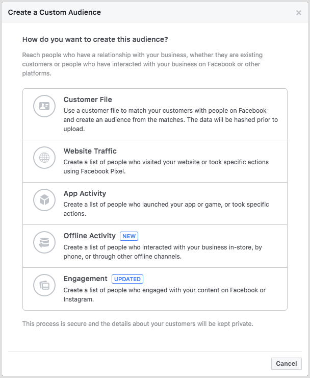 Facebook Business Manager - Create a Custom Audience Options.png
