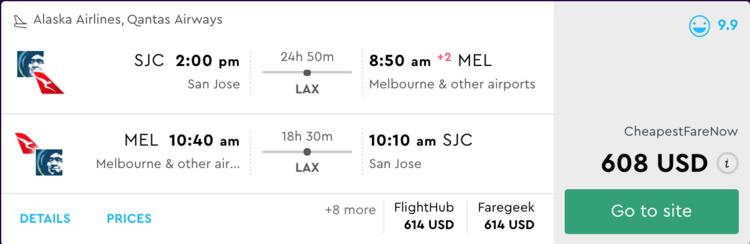 608 Rt Sjc To Melbourne Gtfo Flights