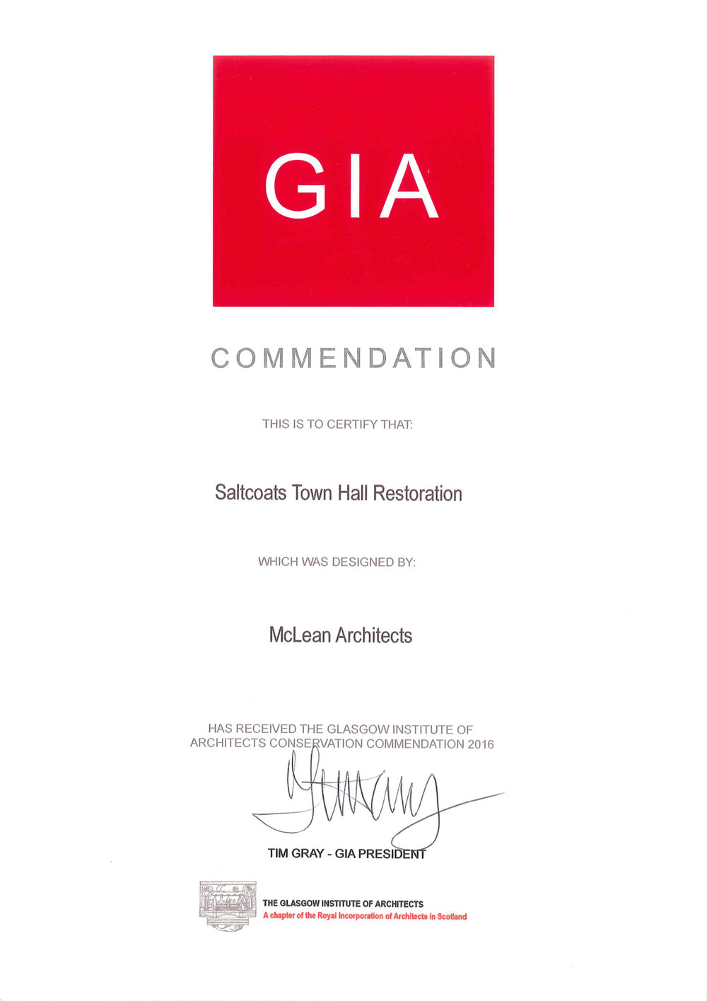 GIA Conservation Commendation 2016