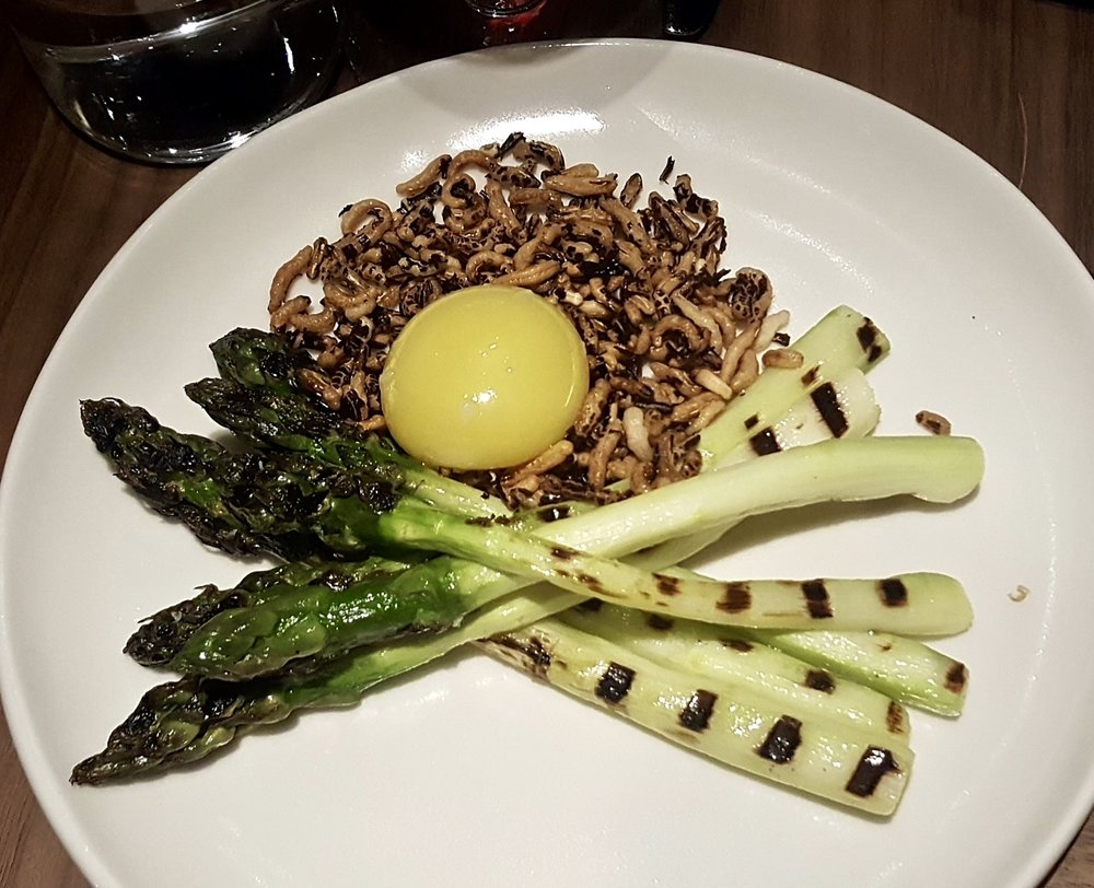 Asparagus, duck yolk and grains