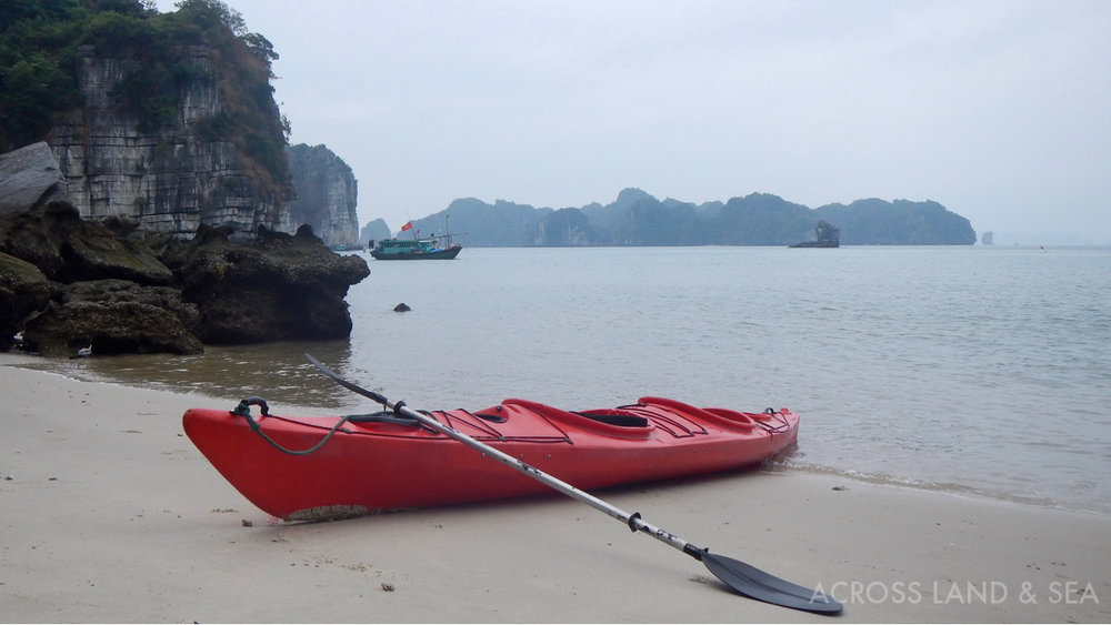 Kayak to a secluded beach in Bai Tu Long Bay
