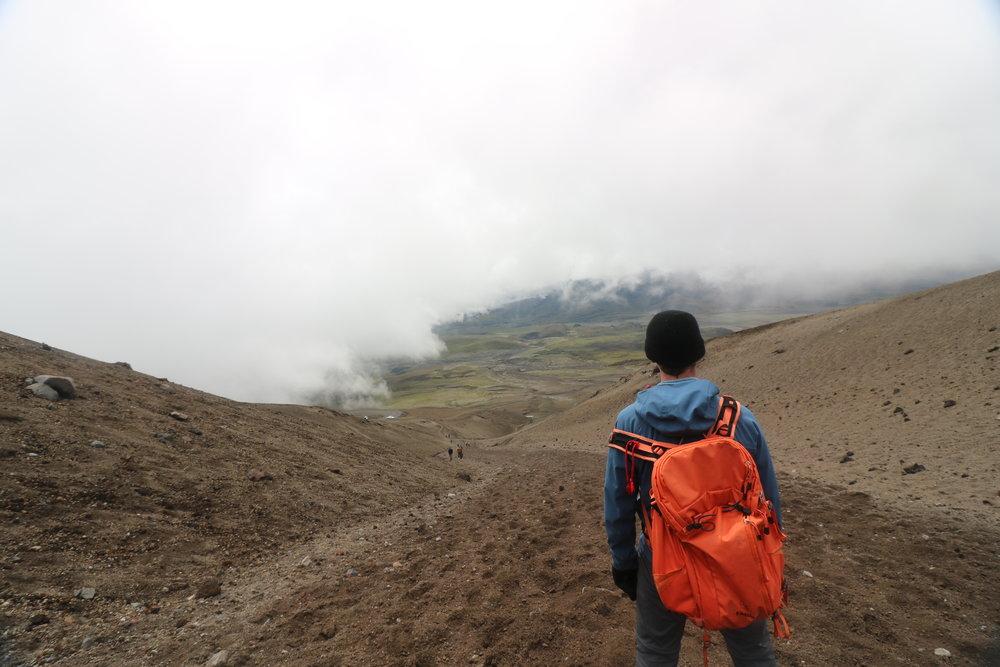 Matt at Cotopaxi volcano, Ecuador, @acrosslandsea