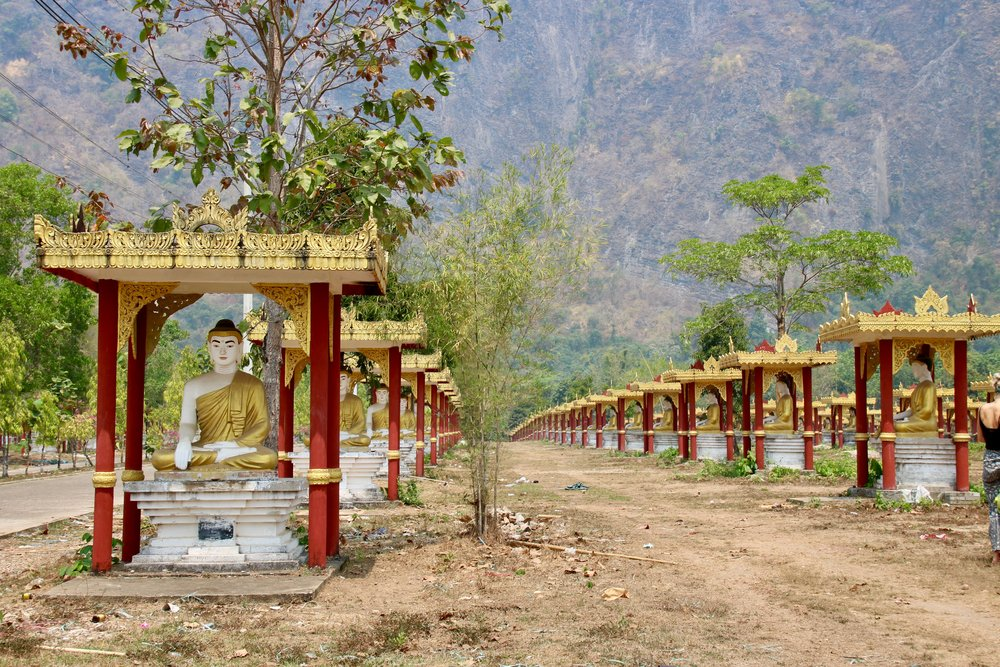 Our definitive guide to Hpa-an, Myanmar. Lumbini garden buddhas