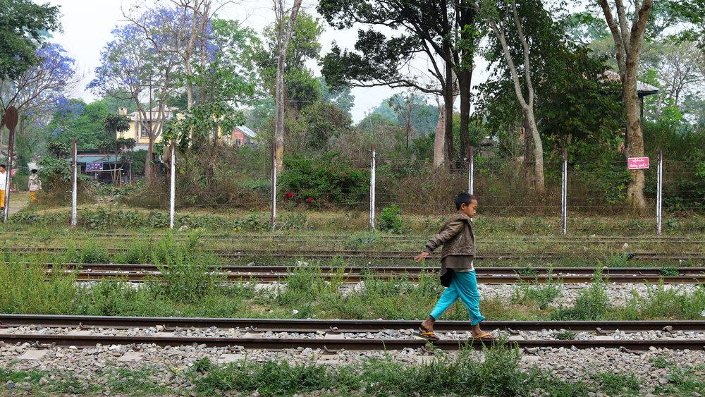 Boy on the railway tracks, Pyin Oo Lwin, Myanmar
