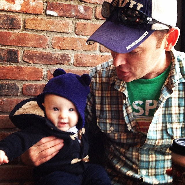 "Uncle @andyhendrickson teaching Carson about the ""power seat"" at the coffee shop."