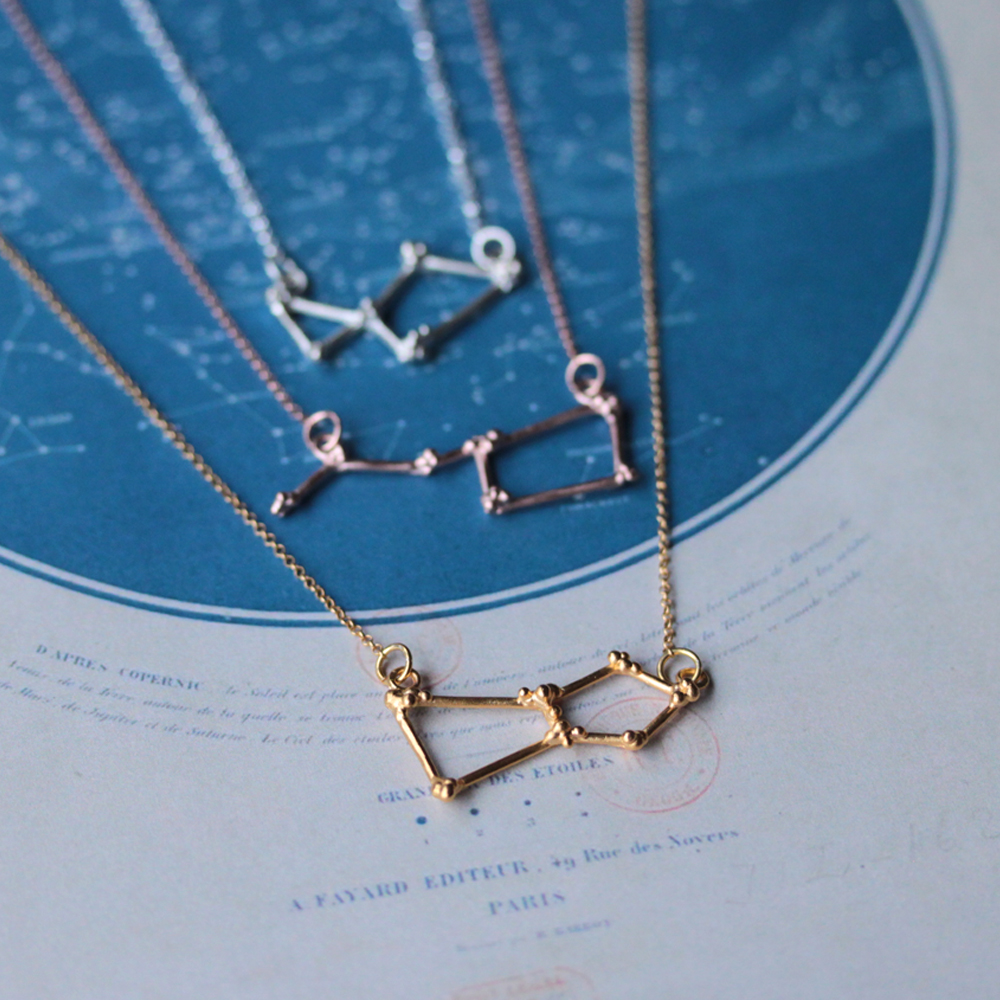 Lovely delicate constellation necklaces in sterling silver, rose gold vermeil and yellow gold vermeil.