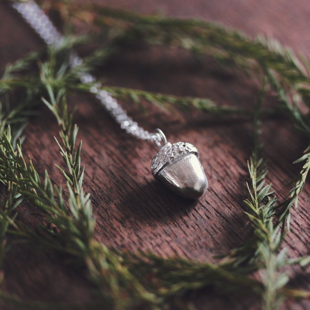 A little woodland faffing with our acorn necklace.
