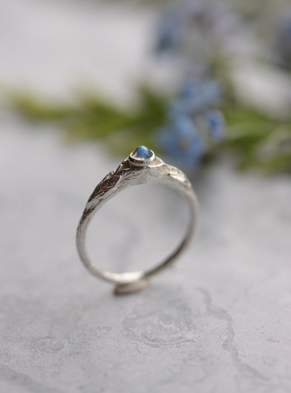 Labradorite twig ring