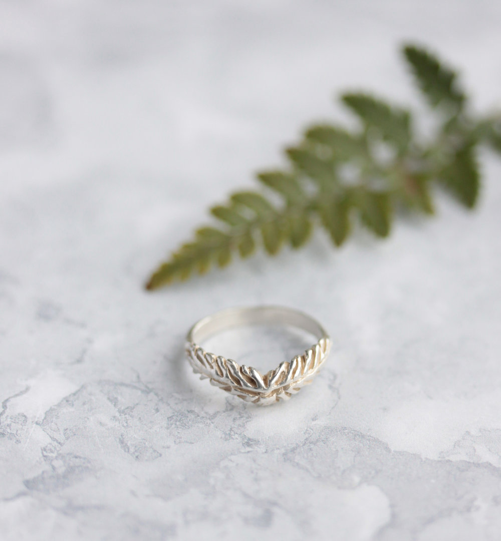 Fern wishbone ring.