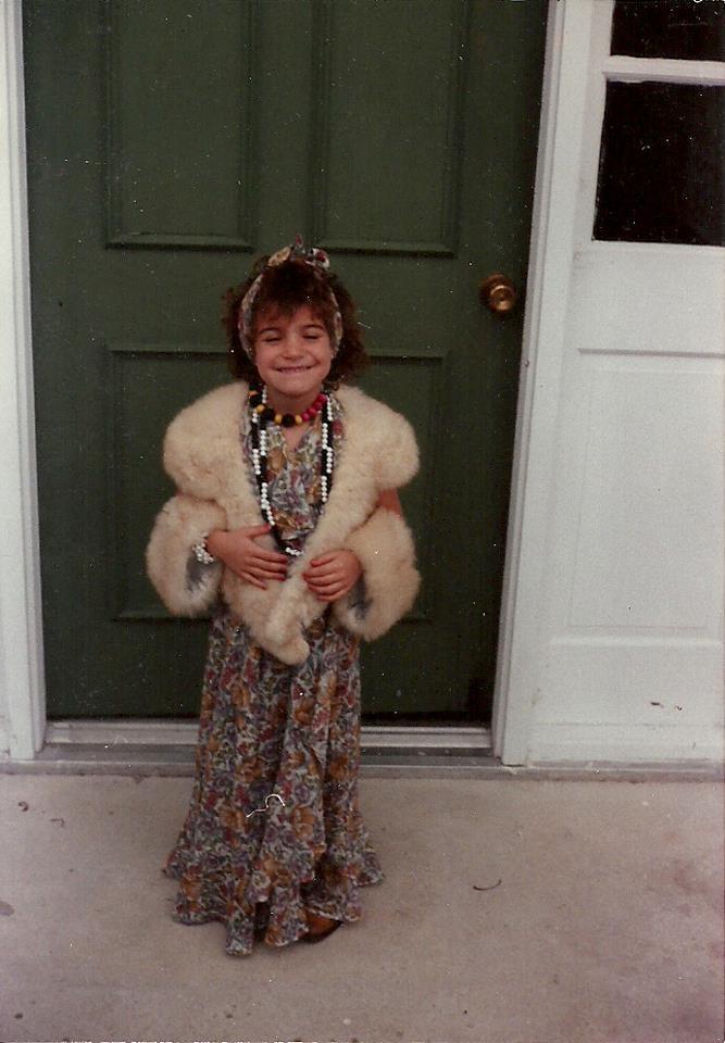 Me, circa 1985, raiding my grandma's closet.