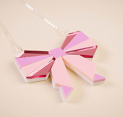 NicLove - Kawaii Pink Bow Necklace.JPG