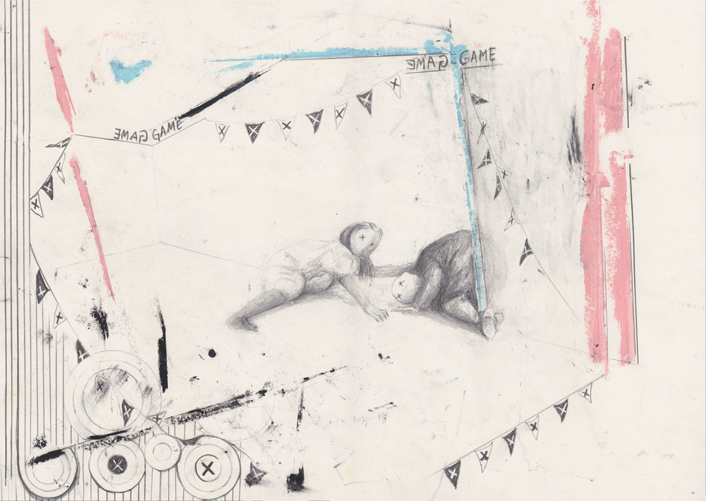 Game , 2016, graphite and oil pastel on paper, 29.7 x 42 cm