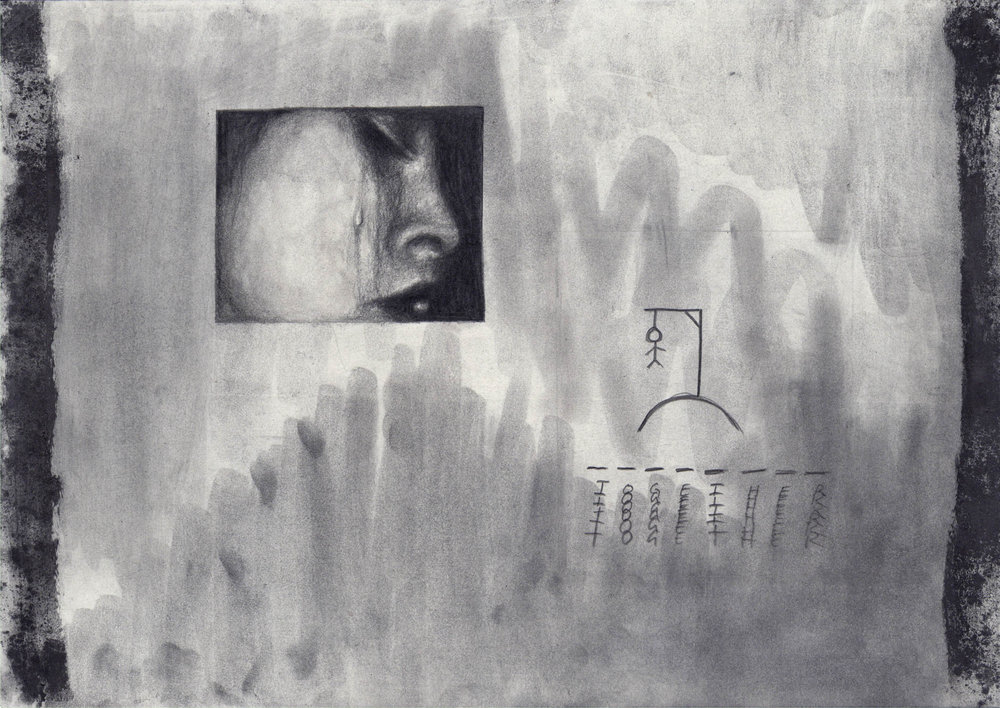 Together , 2016, graphite and oil pastel on paper, 29.7 x 42 cm