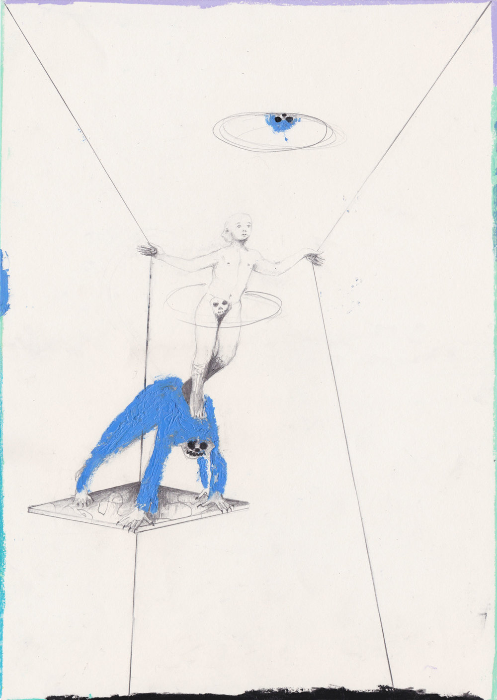 Balance , 2017, graphite and oil pastel on paper, 42 x 29.7 cm