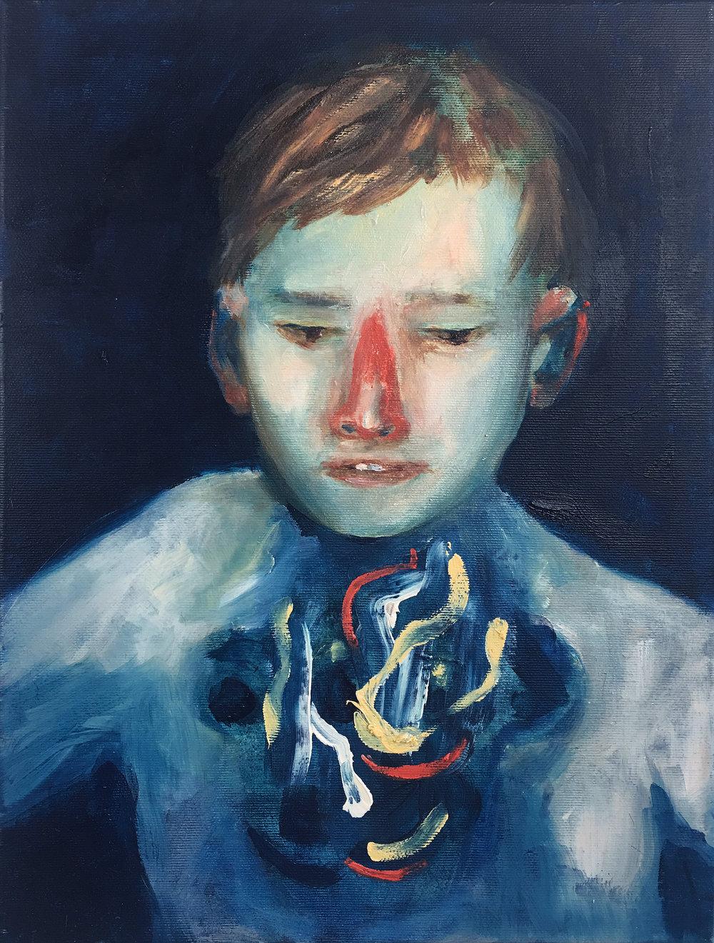 Gloomy Monsters Portrait 1 (Boy),  2018, oil on canvas, 40 x 30 cm