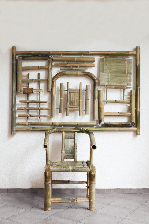 QIKEA,  2018, bamboo, 117 x 171 cm, 59 x 87 x 56 cm