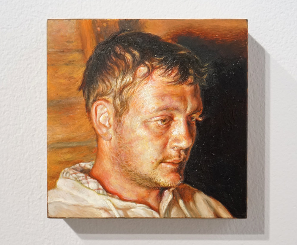 Ouvrier (Joseph) , 2018, Oil on wood, 10 x 10 cm