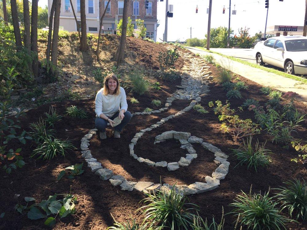 Biz and her spiral.JPG