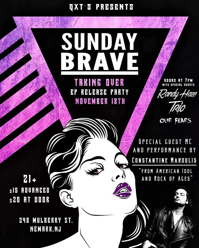 "We interrupt our regularly scheduled programming to bring you a very special and important announcement: Sunday Brave's ""Taking Over"" EP release party on November 18th @qxtsnightclub 🤘🏽 With special guests and performances by Constantine Maroulis, Randy Haze Trio and Our Fears! Block your calendars! We will rock the house down! Doors open at 7pm. E-ticket link is live on our website (link in bio). @sunday_brave @constantinemaroulis @randyhaze @ourfearsofficial #sundaybravenj . . . . . #newrecord #party #newalbum #music #goodmusic #livemusic #musicvideo #musicislife #musiclovers #bestmusic #band #ilovemusic #musiclifestyle #musicvibes #rock #liveformusic #postmetal #heavymusic #rockband #rockphoto #bandphoto #rockmusic #rockstar #rockon #hardrock #liveperformance #tunes #musicman #musicianlife"