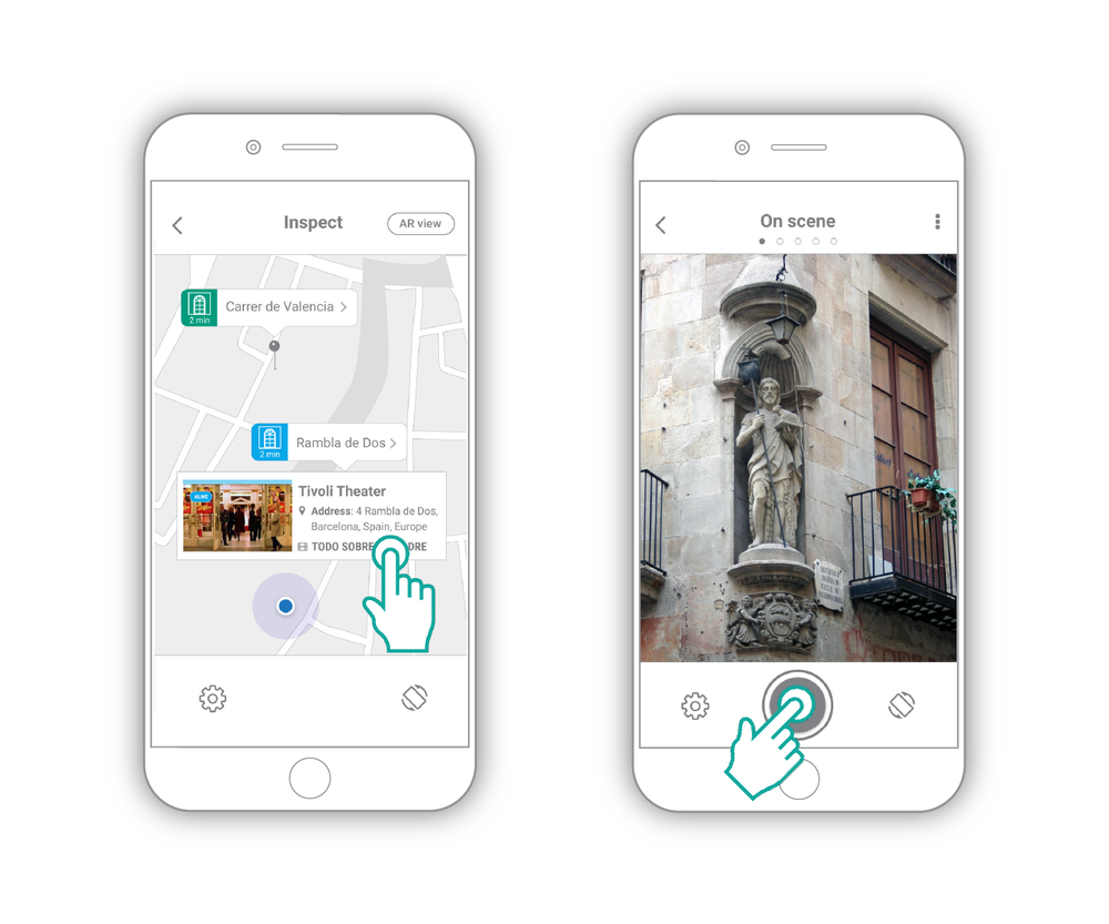3. The map version displays results that lets the user identify if they are at a real or alike movie location  4. Getting to another cool location, the user takes a picture of a new scene that reminds him of a specific film