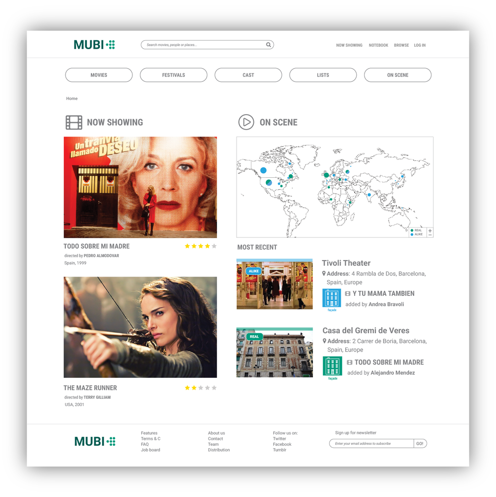 The homepage  integrates the new service, On Scene, into their main categories and the layout design offers it a rich space for displaying.  The user starts to browse for interesting movie locations and travel destinations by clicking the map available on the front page of the website.