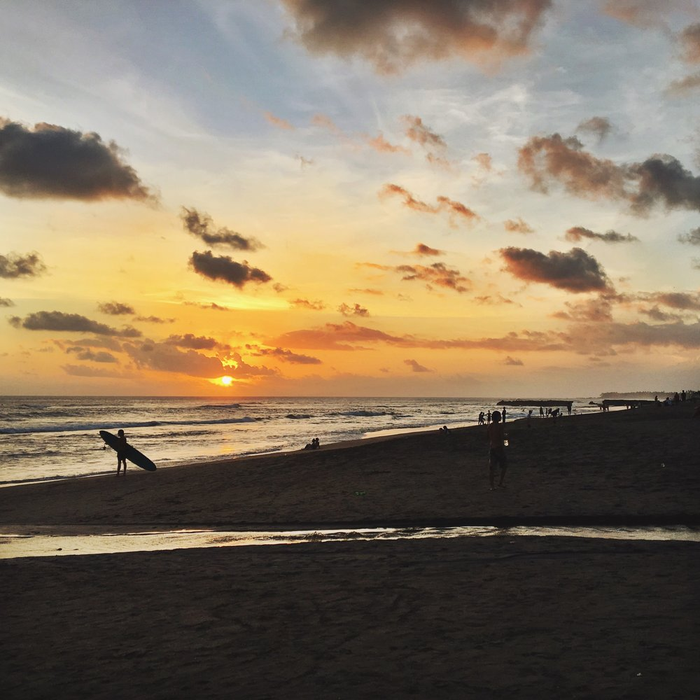 Sunsets + waves in Canggu.