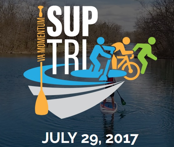 SUP TRI  - Saturday, July 29th we partnered with VA Momentum to host the running portion and after party for the first SUP TRI. This was such an awesome event for community members and we can't wait until next year.