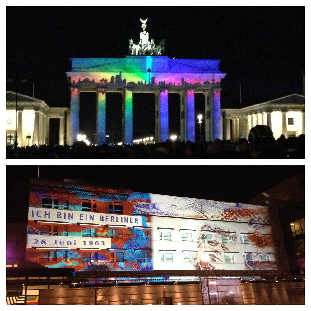 Brandenburg Gate and the U.S. Embassy lit up for the Festival of Lights