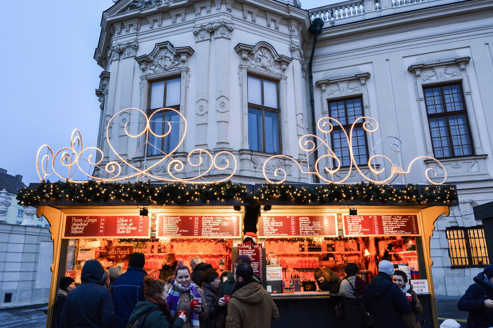 Glühwein stand at the Belvedere Palace Christmas market.