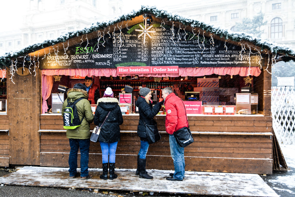 The Christmas market outside of the Museum Quartier.