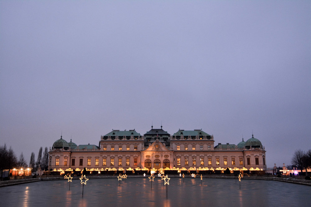 Belvedere Palace and its Christmas market lights.