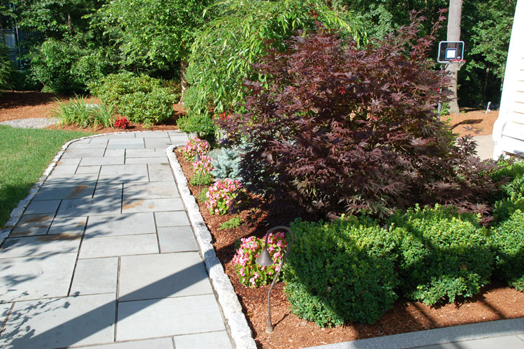 Bluestone Walkway with Cobblestone Border