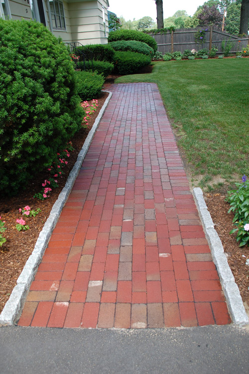 Brick Walkway with Cobblestone Edging