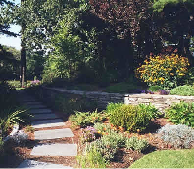 Stepping Stone Path and Fieldstone Wall, Rye NH