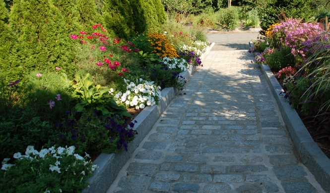 Cobblestone Walkway, Granite Borders, Planter Beds