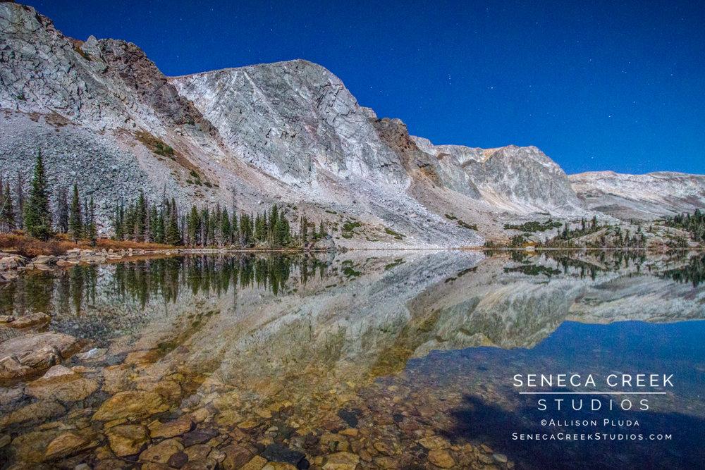 """Lake Marie in Full Moonlight, Snowy Range Mountains, Wyoming,"" 16x24, Fine Art Photograph on Metal by Allison Pluda / Seneca Creek Studios"