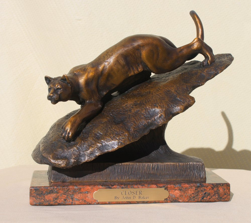 "Bronze Casting ""Closer"" cougar 2016, approx.8"" tall, by John D. Baker"