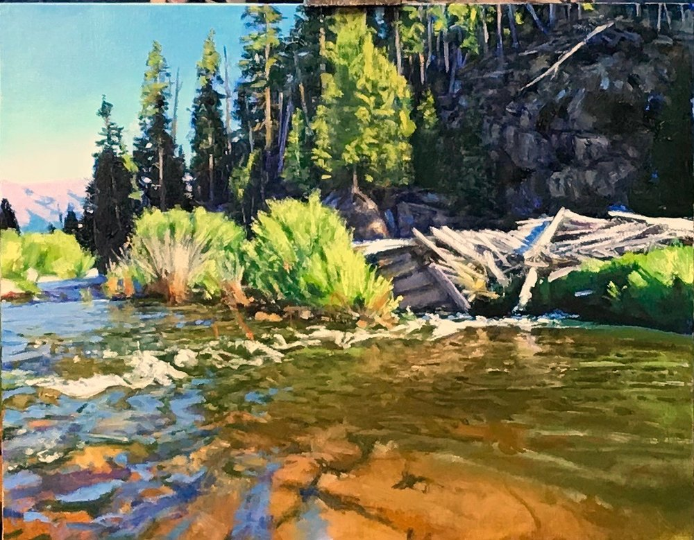 """Flotsam-Warm Springs Creek"" 12X16"" Oil Painting by John D. Baker, 2018"