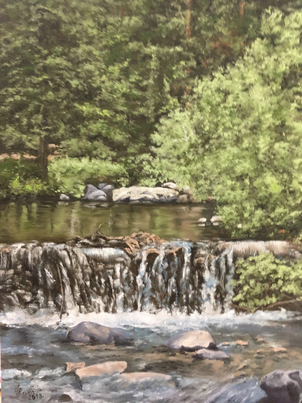 """""""Trail Creek,"""" 2018, 12x16 in., oil on board by Lee Lane"""