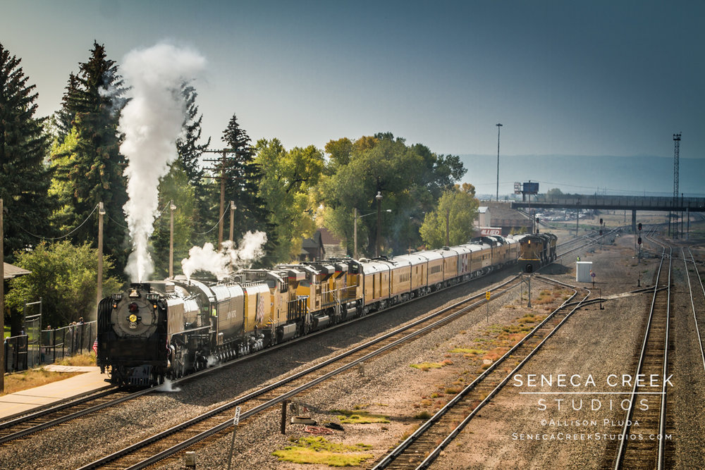 """Union Pacific Historic Train Locomotive Engine #844 at the Historic Train Depot in Downtown Laramie, Wyoming,"" 16x24, Fine Art Photograph on Metal by Allison Pluda / Seneca Creek Studios"