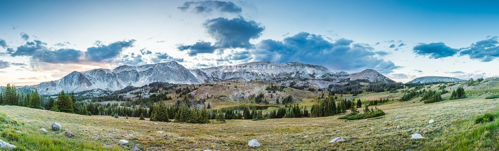 """The Snowy Range Mountains, Medicine Bow National Forest, Wyoming Panoramic,"" 20x60, Fine Art Photograph on Metal by Allison Pluda / Seneca Creek Studios"