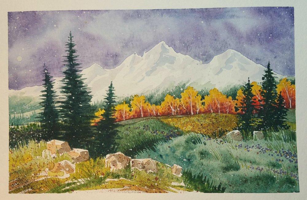"""First Snow,"" 3x5, Original Watercolor Painting by Paula Wilson-Caziér / Honey Tree Studios"