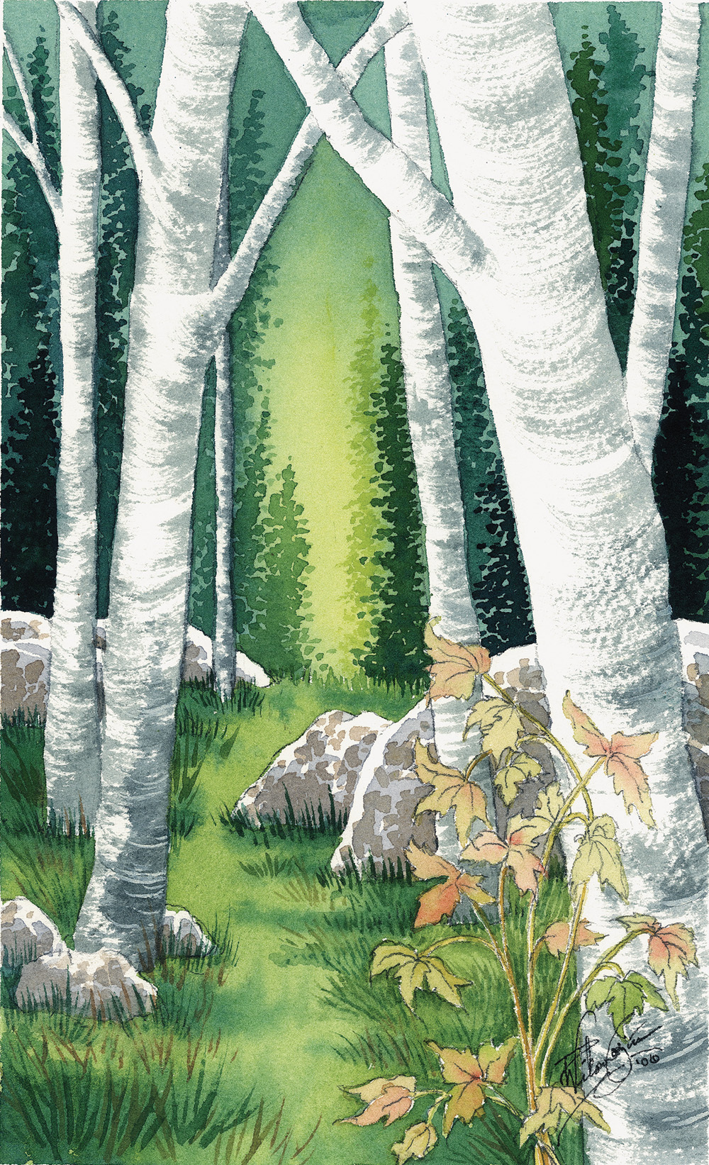 """Morning Aspen,"" 8x10 Original Watercolor Painting by Paula Wilson-Caziér / Honey Tree Studios"