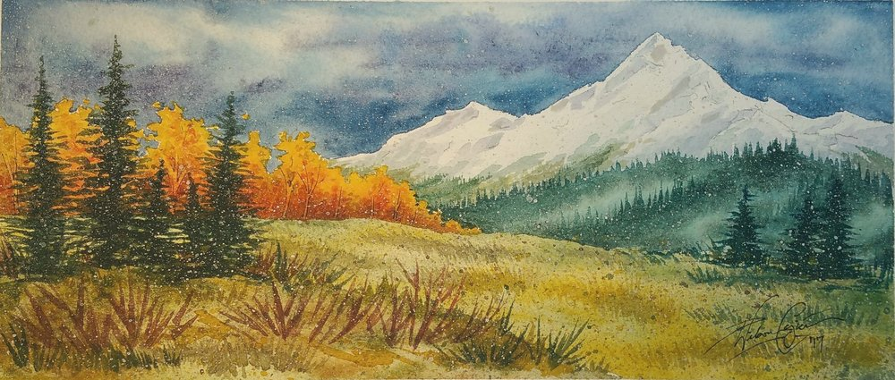"""Late Turnings,""  8x14, Original Watercolor Painting by Paula Wilson-Caziér / Honey Tree Studios"