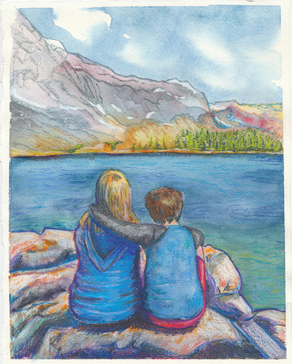 """This Moment Forever"", watercolor and colored pencil, 8"" x 10"", 2018 by Nancy Marlatt"