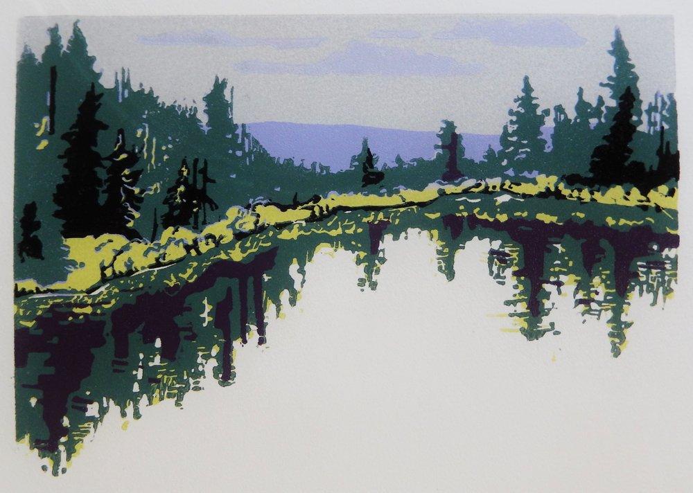 """""""Still Water"""" 6x8"""" relief print, 2018, by Ginnie Madsen"""