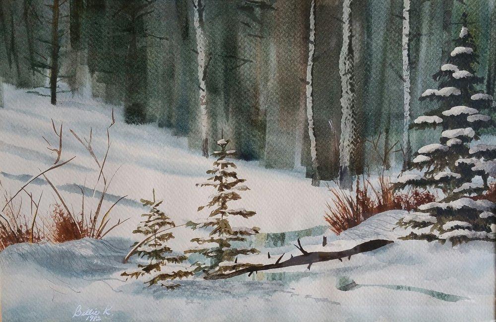 """""""Winter Dreams"""" 11x17 watercolor by Billie Kay Gross"""