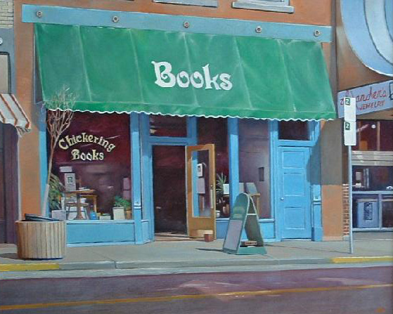 """The Bookstore"" oil painting by Jerry Glass"