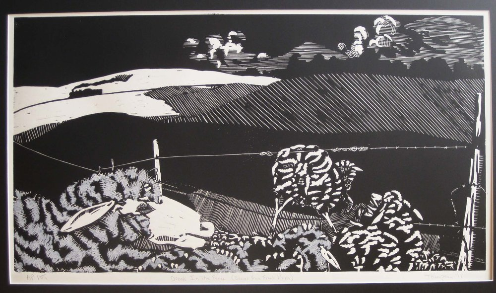 """Break in the Fence (Scenes from Frank Norris)""; Lino-cut; 28"" X 14""; Dec., '15 by Wayne A. Thomson"