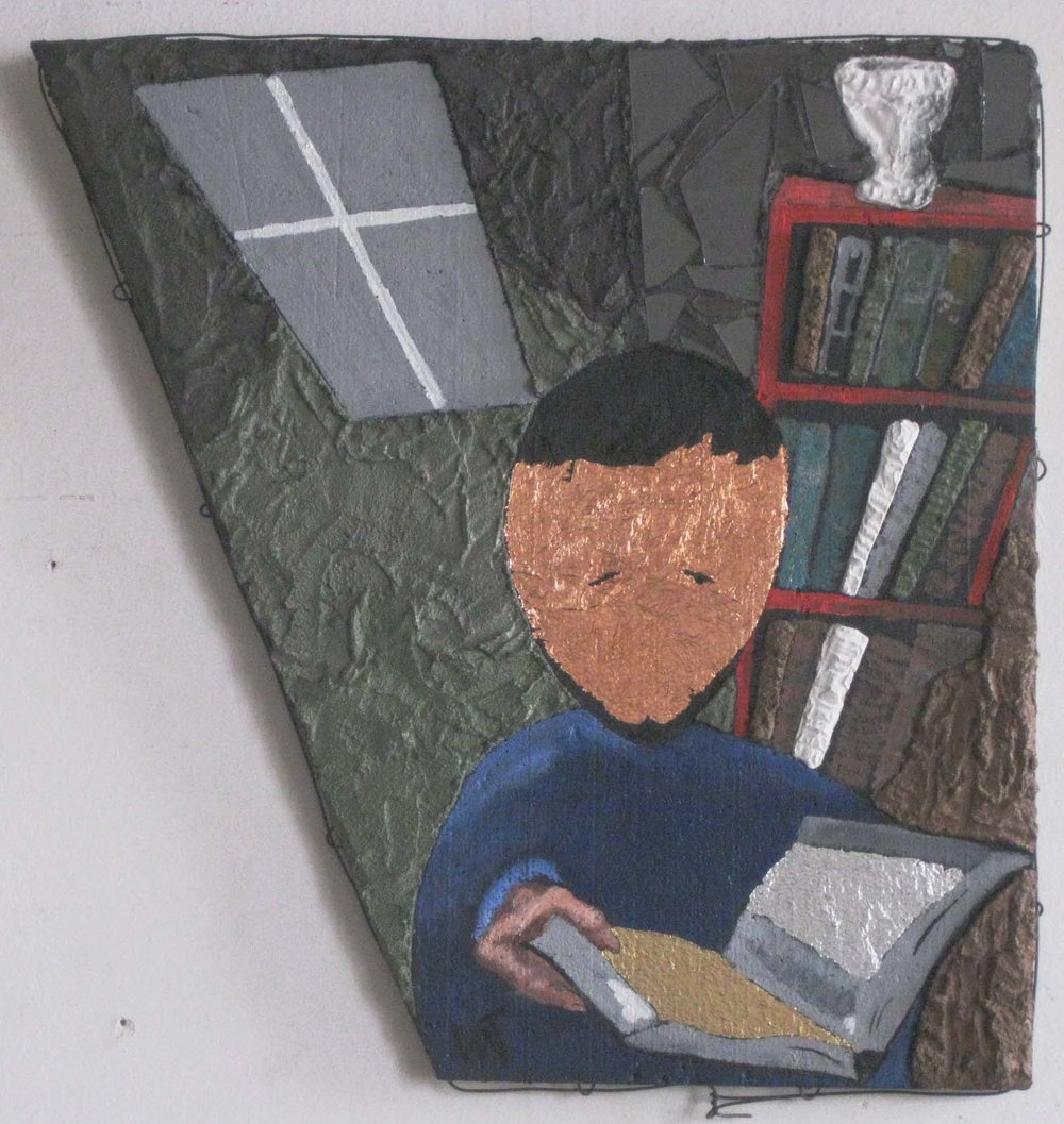 """Narrator Reading""; Stucco and Oil; 24"" X 10""; March, '18 by Wayne A. Thompson"